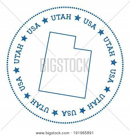 Utah Vector Map Sticker. Hipster And Retro Style Badge With Utah Map. Minimalistic Insignia With Rou