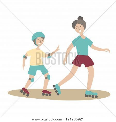 Mother and son on roller skates. Family Sports and physical activity with children, joint active recreation. Vector illustration in flat style, isolated on white background.