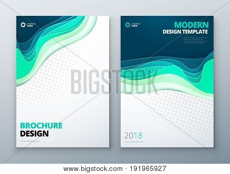 Paper cut brochure design. Paper carve abstract cover for brochure flyer magazine anual report or catalog design. Brochure in teal green colors for eco nature health medical concept