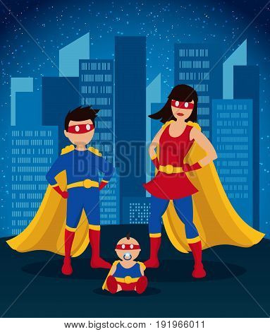 Comic colorful children superheroes template with girl boy baby wearing costumes on night cityscape background vector illustration