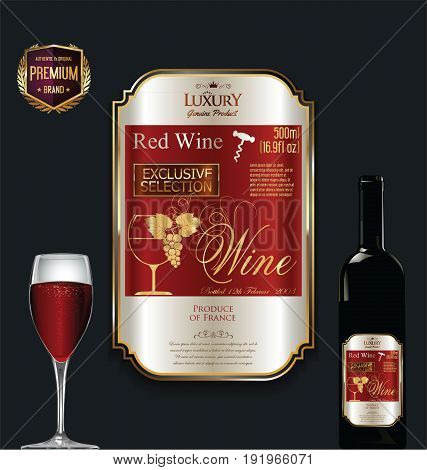 Luxury Golden Wine Label Vector Illustration 3.eps