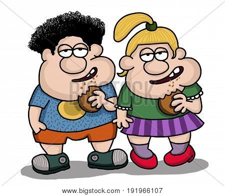 Boy and girl are eating junk food