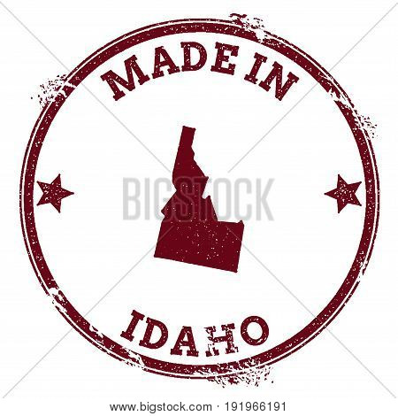 Idaho Vector Seal. Vintage Usa State Map Stamp. Grunge Rubber Stamp With Made In Idaho Text And Usa