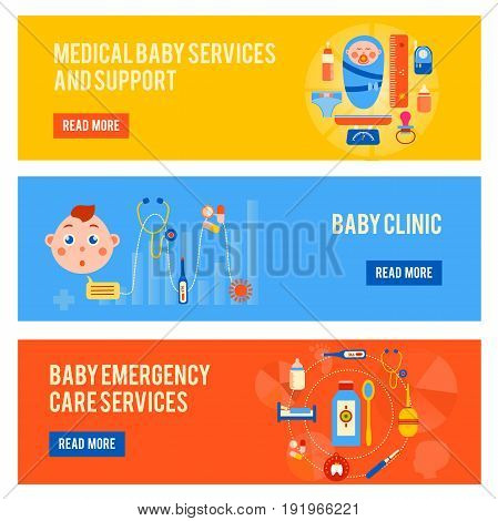 Baby health horizontal banners set with medical services and support childrens clinic emergency care isolated vector illustration