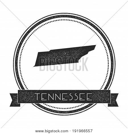 Tennessee Vector Map Stamp. Retro Distressed Insignia With Us State Map. Hipster Round Rubber Stamp