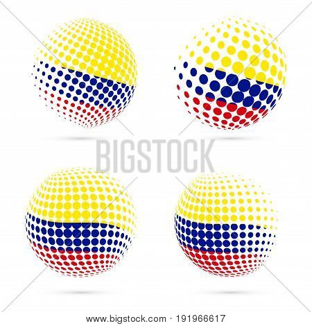 Colombia Halftone Flag Set Patriotic Vector Design. 3D Halftone Sphere In Colombia National Flag Col