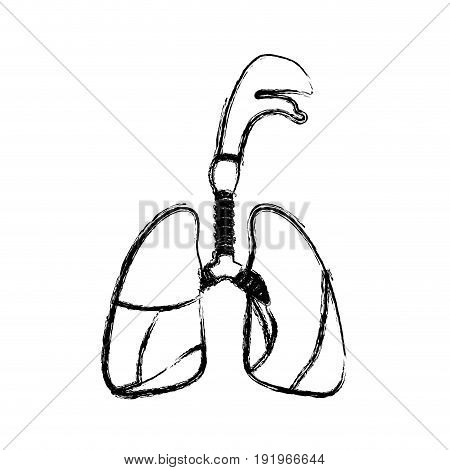 blurred realistic silhouette respiratory system with windpipe vector illustration