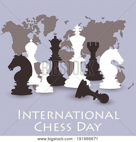 Chess background. International chess day card. July 20. Holiday congratulation poster. Vector illustration