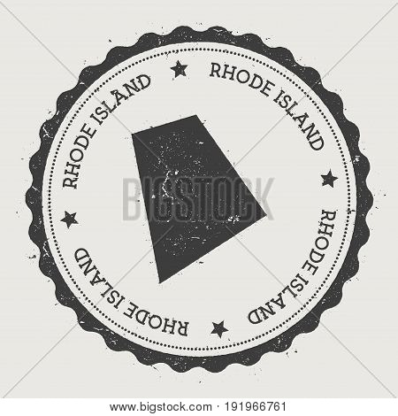 Rhode Island Vector Sticker. Hipster Round Rubber Stamp With Us State Map. Vintage Passport Stamp Wi