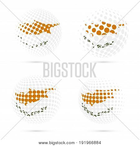 Cyprus Halftone Flag Set Patriotic Vector Design. 3D Halftone Sphere In Cyprus National Flag Colors