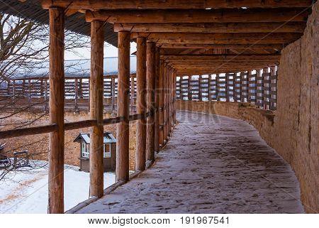Chemin de ronde in winter scene. Fortress Izborsk of Pskov Oblast