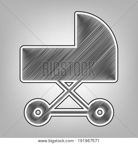 Pram sign illustration. Vector. Pencil sketch imitation. Dark gray scribble icon with dark gray outer contour at gray background.