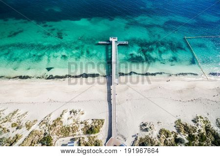 Aerial photograph of the jetty at Coogee Beach in Perth, Western Australia, Australia, on a beautiful sunny afternoon.