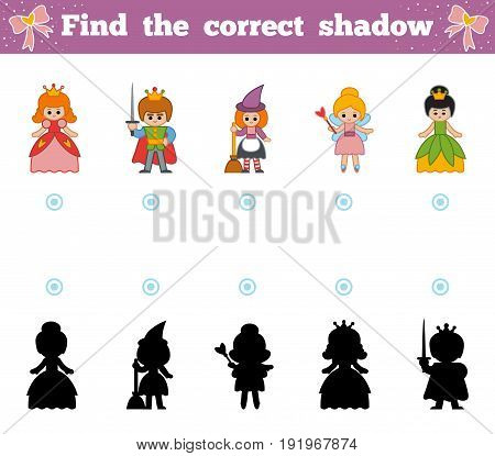 Find the correct shadow education game for children. Set of cartoon fairy-tale characters