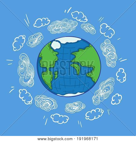 Sketch colorful earth planet atmosphere concept with white clouds floating around globe on blue background vector illustration