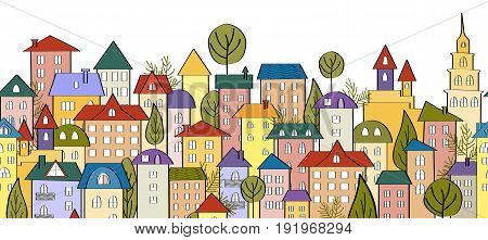 Seamless banner background with rows of colorful cartoon houses. Vector Illustration for ribbons, borders, scotch tapes