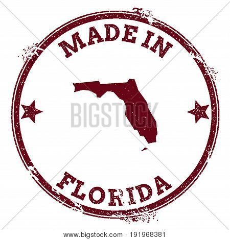 Florida Vector Seal. Vintage Usa State Map Stamp. Grunge Rubber Stamp With Made In Florida Text And
