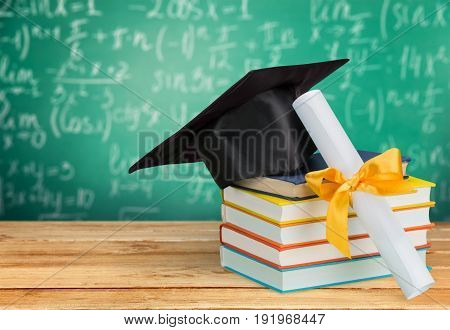 Board stack books graduation mortar grad mortarboard