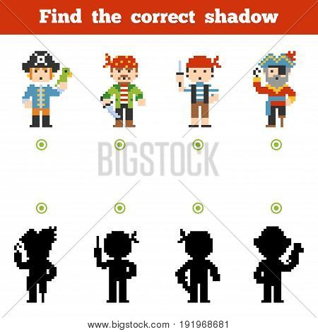 Find The Correct Shadow, Game For Children. Set Of Cartoon Pirate Characters