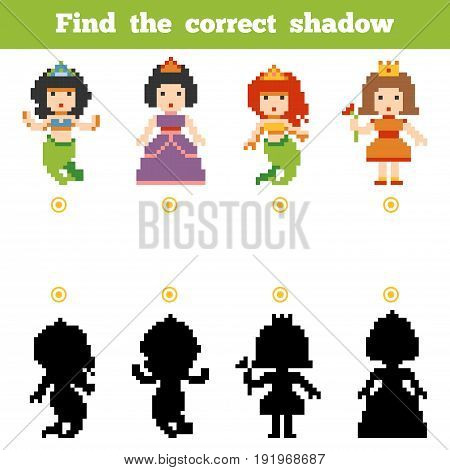 Find The Correct Shadow, Game For Children. Set Of Cartoon Fairy-tale Characters
