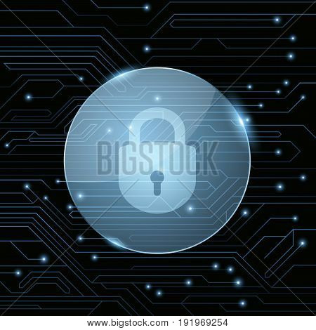 A glass banner with a locked lock against the background of a computer motherboard with luminous blue connectors. The system is protected. Computer network. Vector illustration. EPS 10