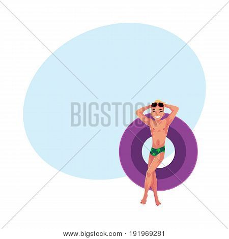 Young Caucasian man in sunglasses on floating inflatable ring, legs crossed, top view cartoon vector illustration with space for text. Young man swimming on inflatable ring, enjoying summer