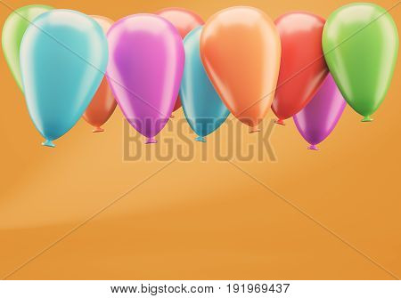 Colorful balloons on orange background. 3d rendering