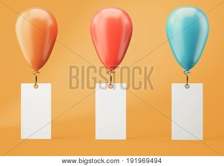 Orange red and blue balloons with blank banners on orange background. 3d rendering