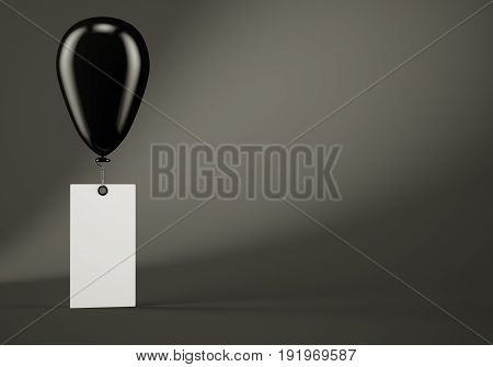 Black balloon with blank banner on dark grey background. 3d rendering