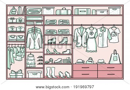 Colored doodle female wardrobe concept with dresses shirts skirts jackets jeans footwear bags clutch belts hats vector illustration