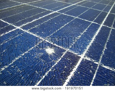 Solar Panels on the roof Broken by Falling Gun Bullet