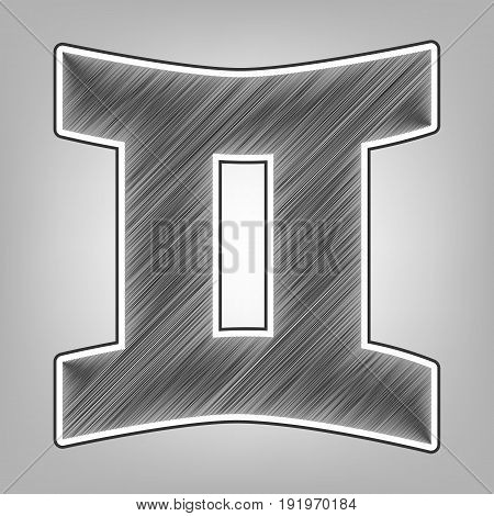 Gemini sign. Vector. Pencil sketch imitation. Dark gray scribble icon with dark gray outer contour at gray background.