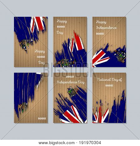 Sgssi Patriotic Cards For National Day. Expressive Brush Stroke In National Flag Colors On Kraft Pap