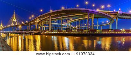 Panoramic image of Bhumibol bridge so called Industrial Ring Bridge crossing The Chao Phraya River Bangkok Thailand