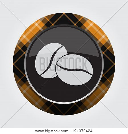 black isolated button with orange black and white tartan pattern on the border - light gray two coffee beans icon in front of a gray background