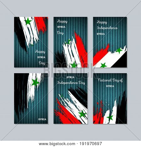 Syria Patriotic Cards For National Day. Expressive Brush Stroke In National Flag Colors On Dark Stri