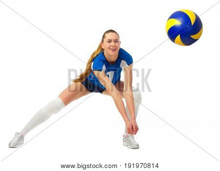 Young woman volleyball player isolated (with ball ver)