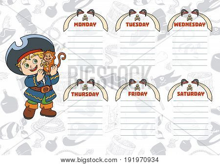 School Timetable For Children With Days Of Week. Cartoon Pirate With A Monkey