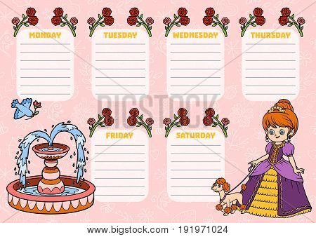 School Timetable For Children With Days Of Week. Cartoon Princess With A Dog