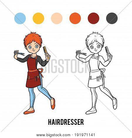 Coloring book for children, vector cartoon Hairdresser