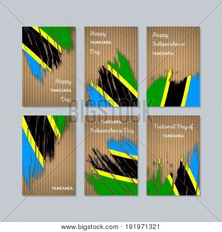 Tanzania Patriotic Cards For National Day. Expressive Brush Stroke In National Flag Colors On Kraft