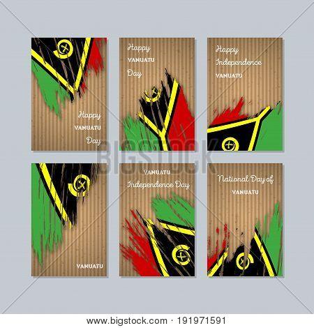 Vanuatu Patriotic Cards For National Day. Expressive Brush Stroke In National Flag Colors On Kraft P