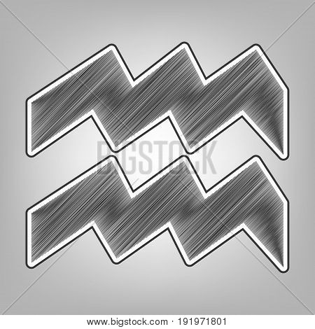 Aquarius sign illustration. Vector. Pencil sketch imitation. Dark gray scribble icon with dark gray outer contour at gray background.