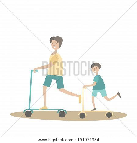 Father and son ride scooters. Family Sports and physical activity with children, joint active recreation. Vector illustration in flat style, isolated on white background.