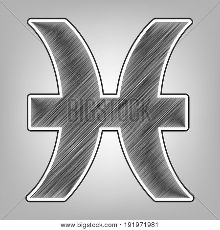 Pisces sign illustration. Vector. Pencil sketch imitation. Dark gray scribble icon with dark gray outer contour at gray background.
