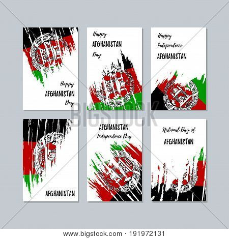 Afghanistan Patriotic Cards For National Day. Expressive Brush Stroke In National Flag Colors On Whi