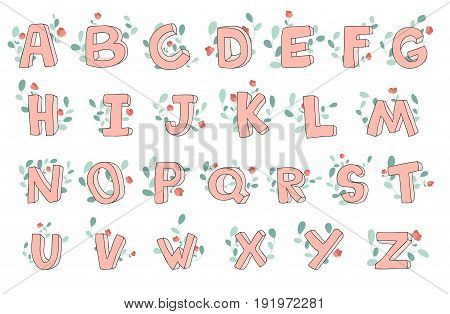 Vector hand-drawn cute alphabet with floral decoration. 3D doodle letters. ABC font for kids.