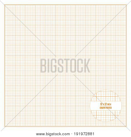 Vector orange printable graph paper 12x12 inch size, grid accented every inch