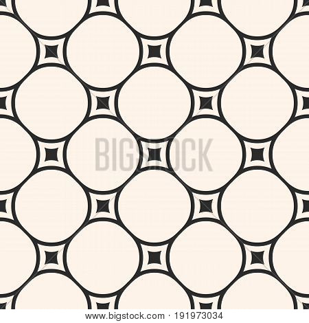 Vector geometric texture, monochrome seamless pattern with circular lattice, mesh, smooth shapes thin lines. Abstract repeat background. Square design element for prints, textile, home, decor, fabric.