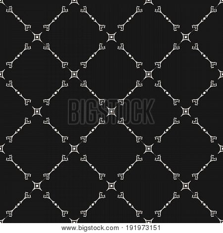 Seamless pattern. Vector subtle geometric background in oriental style. Delicate diagonal lattice, thin lines. Abstract monochrome repeat texture. Dark pattern, decor pattern, textile pattern, fabric pattern.